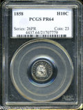 Proof Seated Half Dimes: , 1858 H10C PR64 PCGS....