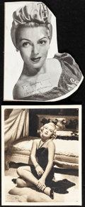 "Movie Posters:Miscellaneous, Lana Turner Lot (MGM, 1943/1941). Fine/Very Fine. Autographed Photo(8"" x 10"") and Cardboard Cutout (8"" x 9.75""). Miscellane... (Total:2 Items)"
