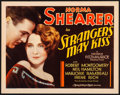 "Movie Posters:Drama, Strangers May Kiss (MGM, 1931) Very Fine. Title Lobby Card (11"" X14""). Drama...."