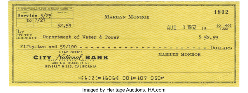 Marilyn Monroe Check Written Within 48 Hours of Her Death  Offered