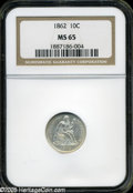 Seated Dimes: , 1862 10C MS65 NGC....