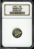 Proof Roosevelt Dimes: , 1951 10C PR69 Cameo NGC....