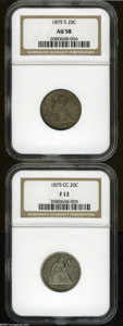 1875-CC 20C Fine 12 NGC, light gray color with deeper toning around the devices; and an 1875-S AU58 NGC, nearly full lu...
