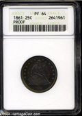Proof Seated Quarters: , 1861 25C PR64 ANACS....