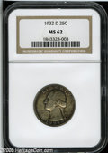 Washington Quarters: , 1932-D 25C MS62 NGC....