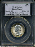 Washington Quarters: , 1934 25C Light Motto MS66 PCGS....