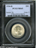 Washington Quarters: , 1934-D 25C Medium Motto MS65 PCGS....