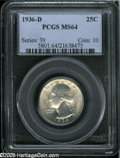 Washington Quarters: , 1936-D 25C MS64 PCGS....