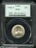 Washington Quarters: , 1936-D 25C MS65 PCGS....