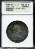Early Half Dollars: , 1795 50C 2 Leaves--Corroded, Scratched, Cleaned--ANACS. FineDetails, Net VG8....