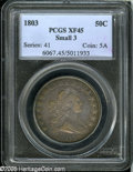 Early Half Dollars: , 1803 50C Small 3 XF45 PCGS....