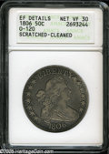 Early Half Dollars: , 1806 50C Pointed 6, Stem--Scratched, Cleaned--ANACS. XF Details,Net VF30....