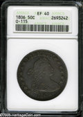 Early Half Dollars: , 1806 50C Pointed 6, Stem XF40 ANACS....