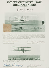 The Wright Brothers and Kitty Hawk: A Section of Fabric from the Plane Which Made History on December 17th, 1903