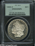 1888-O $1 MS64 Deep Mirror Prooflike PCGS. Incredibly reflective on both sides with generous portions of frost on the de...