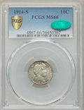 Barber Dimes, 1914-S 10C MS66 PCGS Gold Shield. CAC....