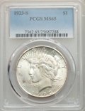 Peace Dollars, 1923-S $1 MS65 PCGS....