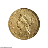 1854-S $2 1/2 VF25 NGC. The 1854-S is a historic and important rarity of the first order and a numismatic classic with f...
