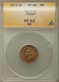 Proof Indian Cents: , 1872 1C PR63 Red and Brown ANACS. NGC Census: (21/115). PCGS Population: (49/245). CDN: $500 Whsle. Bid for problem-free NG...