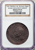 """German States:Prussia, German States: Prussia. Wilhelm II silver Proof """"200th Jubilee ofMonarchy"""" Medal 1901 PR65 NGC,..."""