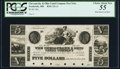 Obsoletes By State:Maryland, Frederick, MD- Chesapeake & Ohio Canal Company Post Note $5 184_ Proof PCGS Choice About New 55, 6 POC.. ...