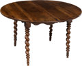 Furniture : Continental, A Walnut Top Table with Married Barley Twist Base, 19th century. 28-3/4 x 48-3/4 inches (73.0 x 123.8 cm). ...