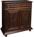 Furniture : French, A French Provincial Carved Wood Buffet, 19th century. 43-1/2 x 44 x 17-3/4 inches (110.5 x 111.8 x 45.1 cm). ...