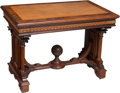 Furniture : English, An Early Victorian Parquetry-Inlaid Library Table with Inset Leather Panel and Globe Finial, 19th century. 28-1/4 x 40 x 25 ... (Total: 2 Items)