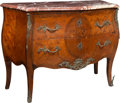 Furniture, A Louis XV-Style Marquetry-Inlaid and Bronze-Mounted Bombé Commode with Marble Top, early 20th century. 35 x 45-3/4 x 20-1/4...