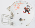 Football Collectibles:Helmets, Jim Brown Signed & Inscribed Full Size Helmet (4 Inscriptions)....