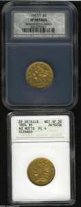 Classic Half Eagles: , 1834 $5 Plain 4--Cleaned--ANACS. XF Details, Net VF30,... (2 Coins)