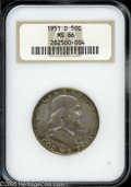 Franklin Half Dollars: , 1951-D 50C MS66 NGC....