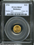 Commemorative Gold: , 1916 G$1 McKinley MS65 PCGS....