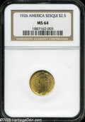 Commemorative Gold: , 1926 $2 1/2 Sesquicentennial MS64 NGC....