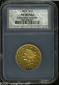 Liberty Eagles: , 1862 $10--Improperly Cleaned--NCS. AU Details....
