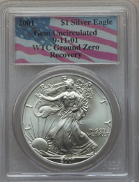 2001 $1 Silver Eagle Gem Uncirculated PCGS. 9/11/01 World Trade Center Ground Zero Recovery. PCGS Population: (0/0). NGC...
