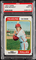 Baseball Cards:Singles (1970-Now), 1974 Topps Mike Schmidt #283 PSA Mint 9....
