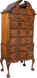 Furniture , A George II-Style Figured Walnut High Chest of Drawers, 19th century. 89-1/2 x 41 x 23-1/4 inches (227.3 x 104.1 x 59.1 cm)...