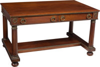 An Empire-Style Mahogany and Bronze Mounted Partners Desk, 20th century 30-1/4 x 54 x 34 inches (76.8 x 137.2 x 86