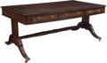 Furniture : English, A Regency Mahogany and Leather Partner's Desk, 19th century. 30-1/4 x 71-3/8 x 39-5/8 inches (76.8 x 181.3 x 100.6 cm). ...