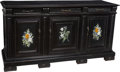 Furniture : Continental, An Italian Ebonized Wood Credenza with Pietra Dura Inlaid Panels, 19th century. 39-1/2 x 75-3/8 x 22-1/4 inches ...