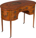 Furniture , An Edwardian Kidney-Shaped Painted Lady's Dressing Table, circa 1910. 30 x 42 x 23 inches (76.2 x 106.7 x 58.4 cm). PROPER... (Total: 2 Items)