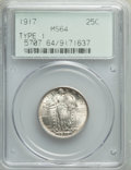 1917 25C Type One MS64 Full Head PCGS. PCGS Population: (2117/1824). NGC Census: (1411/1142). MS64. Mintage 8,740,000...