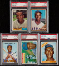 Baseball Cards:Lots, 1956-1967 Topps Ernie Banks PSA Graded Collection (5)....