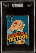 "Baseball Cards:Unopened Packs/Display Boxes, Scarce 1971 Topps ""Baseball Tattoos"" Empty Wax Box GAI NM 7. ..."