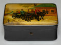 Other, A Pre-Revolution Russian Lacquered Box, 1881-1894. Marks: (coins with portraits of Alexander III). 2-1/4 x 5-7/8 x 4 inches ...