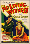 "Movie Posters:Drama, No Living Witness (Mayfair Pictures, 1932) Fine+ on Linen. OneSheet (27"" X 41""). Drama. From the Collection of FrankBuxt..."