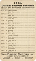 Football Collectibles:Others, 1926 Green Bay Packers Pocket Schedule - Rare Early Example!...