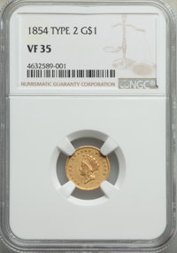 1854 G$1 Type Two VF35 NGC. NGC Census: (9/5890). PCGS Population: (39/3877). VF35. Mintage 783,943....(PCGS# 7531)