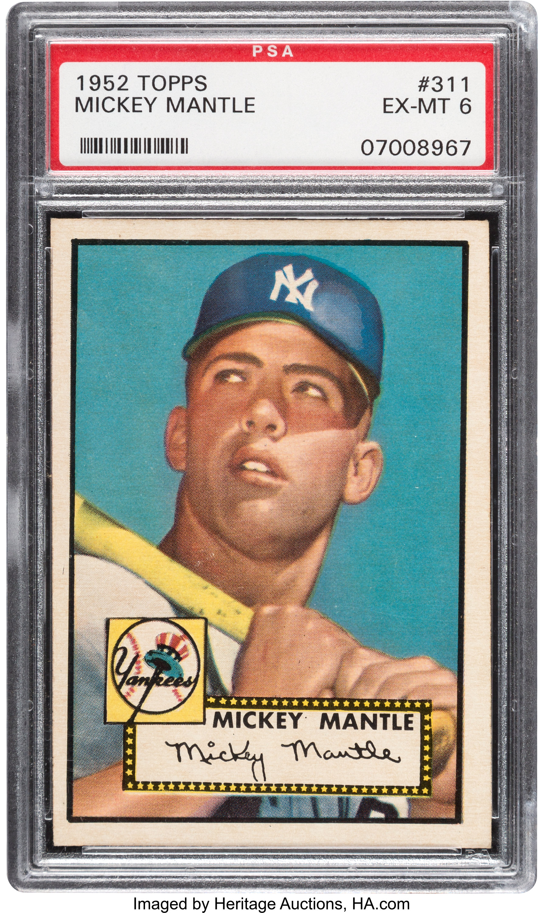 1952 Topps Mickey Mantle 311 Psa Ex Mt 6 Baseball Cards Lot